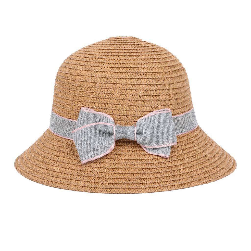 Naiflowers 5-8 Years Old Unisex Children Kids Fashion Bowknot Bohemian Hats Beach Sun Hat Basin Caps Straw Hat