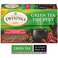 Twinings of London Pomegranate, Raspberry, and Strawberry Green Tea Bags, 20 Count (Pack of 6)