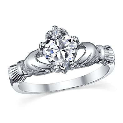 Ultimate Metals Co. Bague Argent 925 1000 Claddagh Avec Zirconia ... 94b9f5f5e24f
