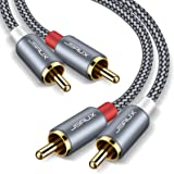 JSAUX RCA Stereo Cable, [6.6ft/2M, Dual Shielded Gold-Plated] 2RCA Male to 2RCA Male Stereo Audio Cable for Home Theater…