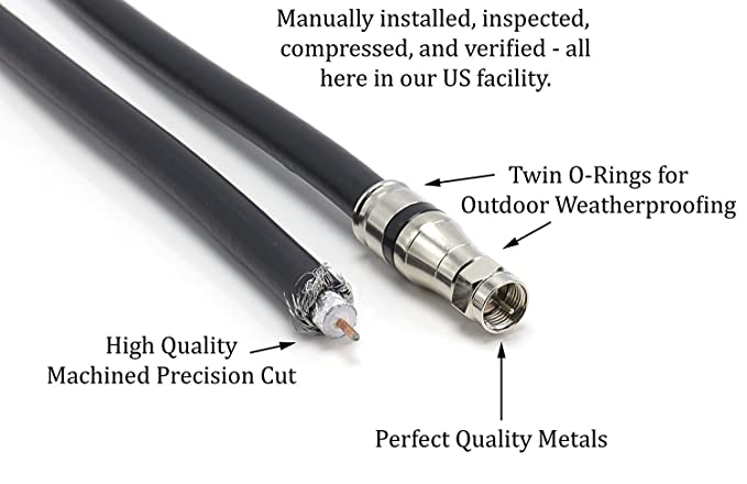 Amazon.com: THE CIMPLE CO - 35 Foot RG-11 Coaxial Cable, Made in The USA | F Type Cable High Definition with RG11 Coax Compression Connectors – (Black): ...