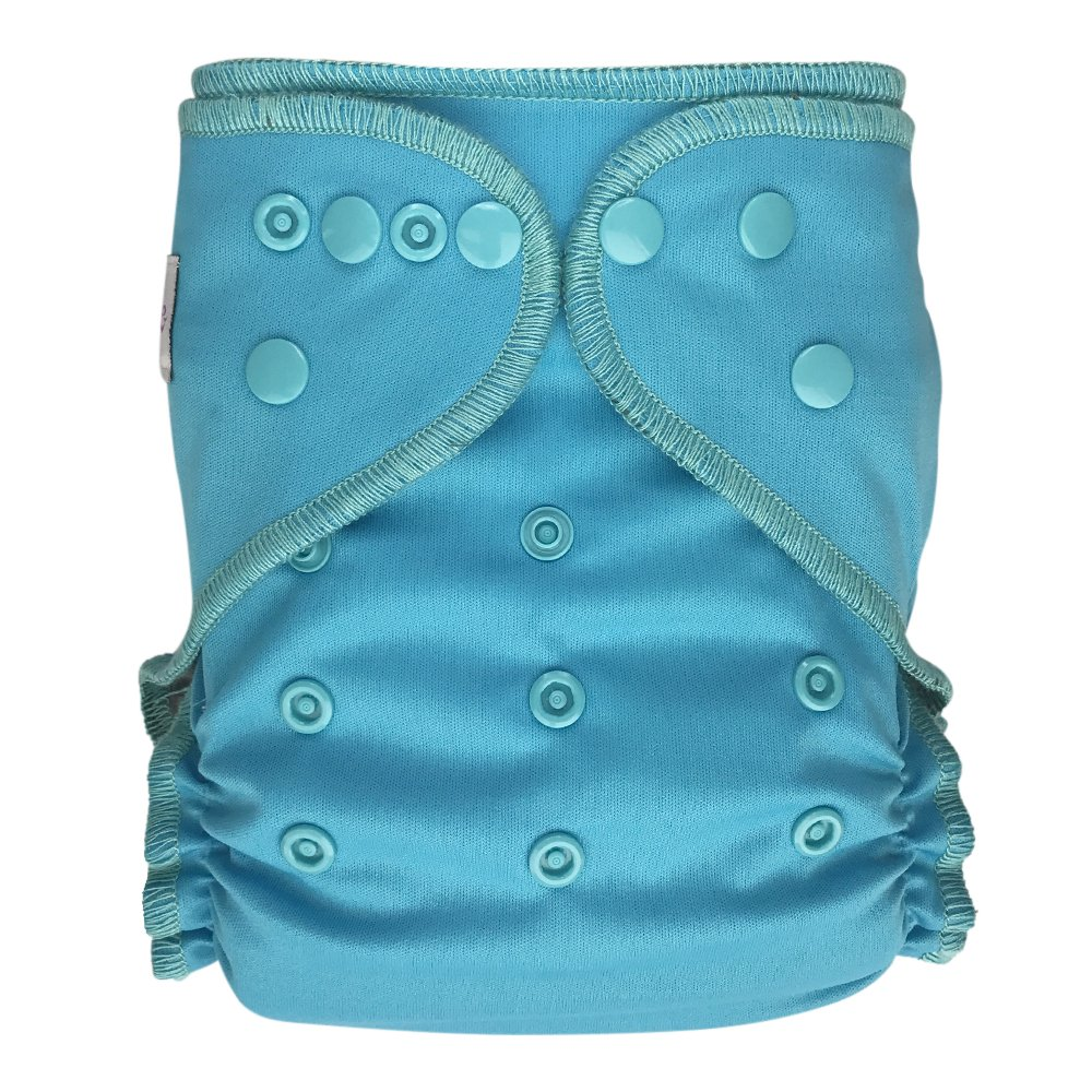 EcoAble Baby All-In-Two AI2 Cloth Diaper w/ Pocket, Bamboo/ Organic Cotton, One Size 10-35Lb (Light Blue)