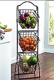 INDIAN DECOR 3838- Three Tier Metal Countertop Multi-Functional Fruit Storage Basket, Storage Basket Black
