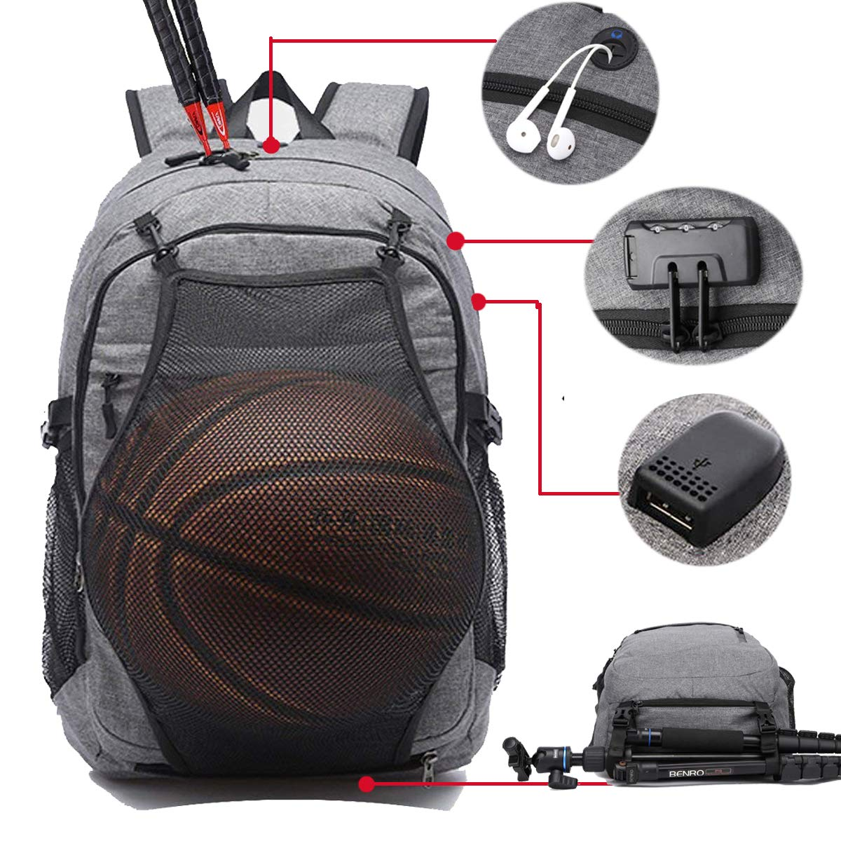 7c00d45c019 Laptop Sports Backpack, Durable Outdoor Travel Bag Basketball Backpack -  Soccer Backpack with USB Charging Port, Water Resistant College School  Backpack for ...