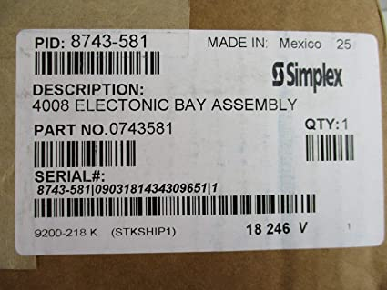 Simplex 8743-581 - 4008 Electronic Bay Assembly - - Amazon com