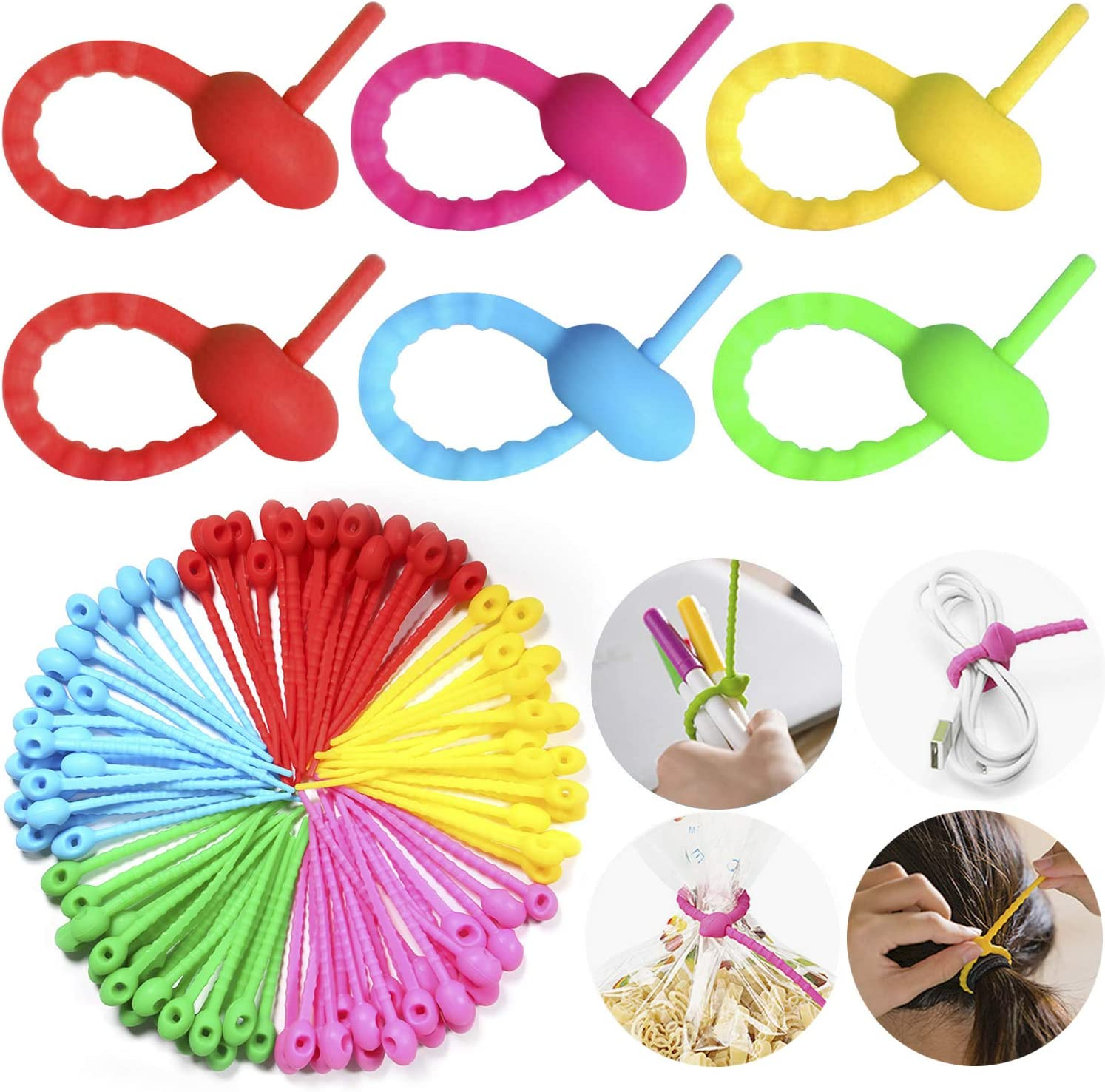 PROLOSO 100 Pcs Silicone Cable Ties Adjustable Rubber Twist Tie Cord Zip Tie Bag Wrap Straps Multi Color for Food Home Kitchen Office