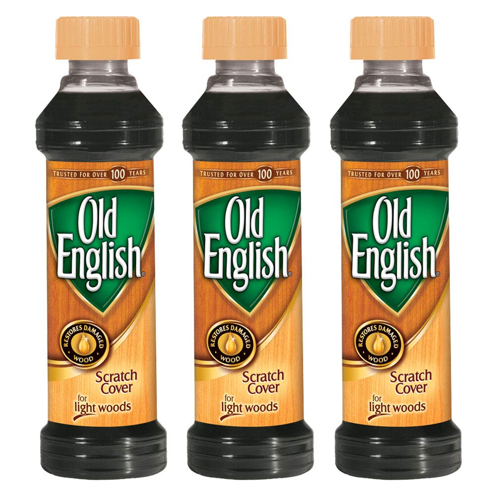 Old English Scratch Cover for Light Woods, 8 fl oz Bottle, Wood Polish (Pack of 3) by Old English
