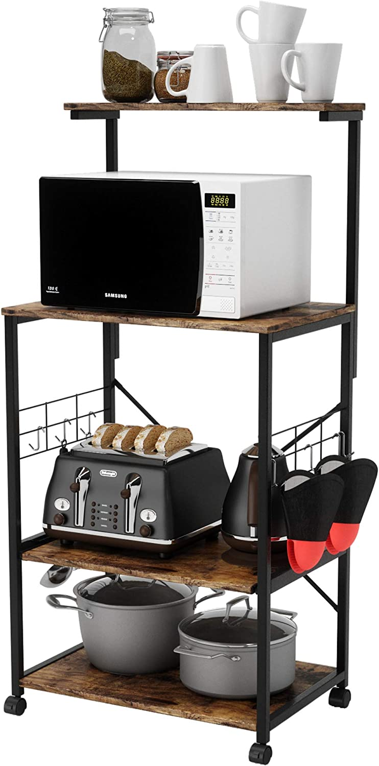 BESTIER Kitchen Baker's Rack with Oven Mitts and 10 Side Hooks Utility Storage Shelf Microwave Stand Cart on Wheels, Kitchen Organizer Rack 4 Tier Shelves Adjustable Feet(Rustic Brown, Duck Mittens)