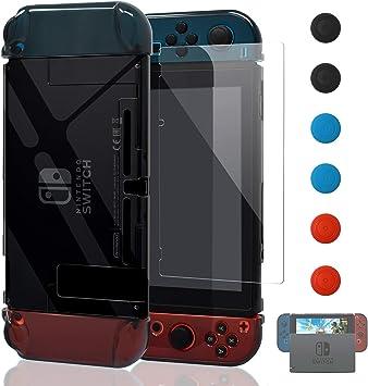 YUANHOT Funda para Nintendo Switch y Jon con con Protector de Pantalla de Cristal Templado, Negro Claro: Amazon.es: Electrónica