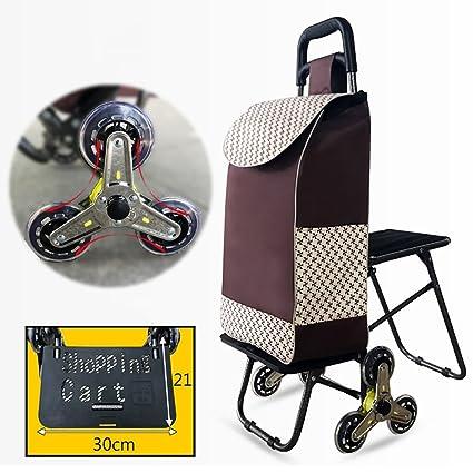 Fkdebag Carrito de Compras Carro de la Compra Carro Plegable Escaleras de Escalada Supermercado portátil con