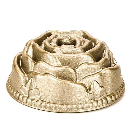 Molde para minitartas de 11 cm, hecho de aluminio fundido con acabado dorado, aluminio