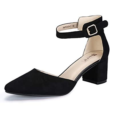 99fa8685b2605 IDIFU Women s IN2 Pedazo-C Mid Chunky Heels Ankle Strap D Orsay Pumps (