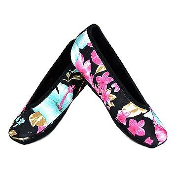 565ad7880 NuFoot Ballet Flats Women's Shoes Best Foldable & Flexible Flats Slipper  Socks Travel Slippers & Exercise