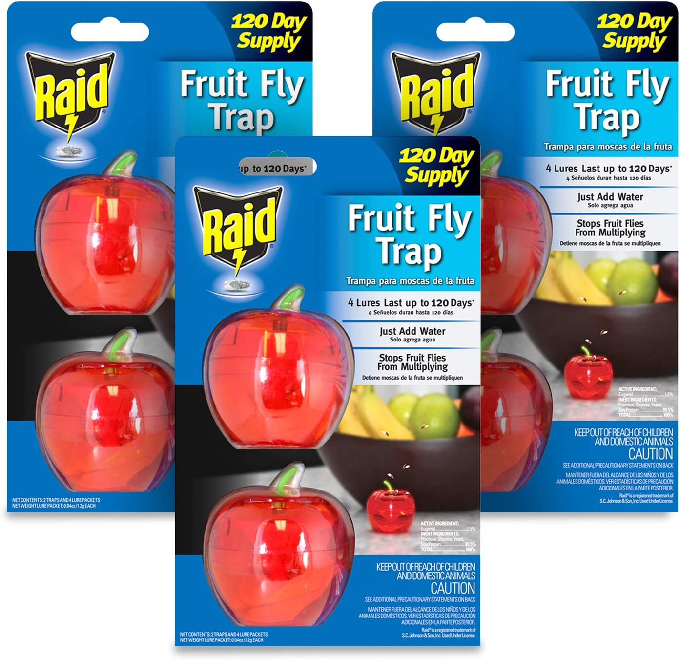 Raid Fruit Fly Trap Bundle, Set of 3 2-Pack Apple Fruit Fly Catcher Indoor Trap, 360-Day Supply of Fruit Fly Traps for Kitchen & Dining Areas, Reusable Gnat Traps w/Food-Based Lure for Fruit Flies