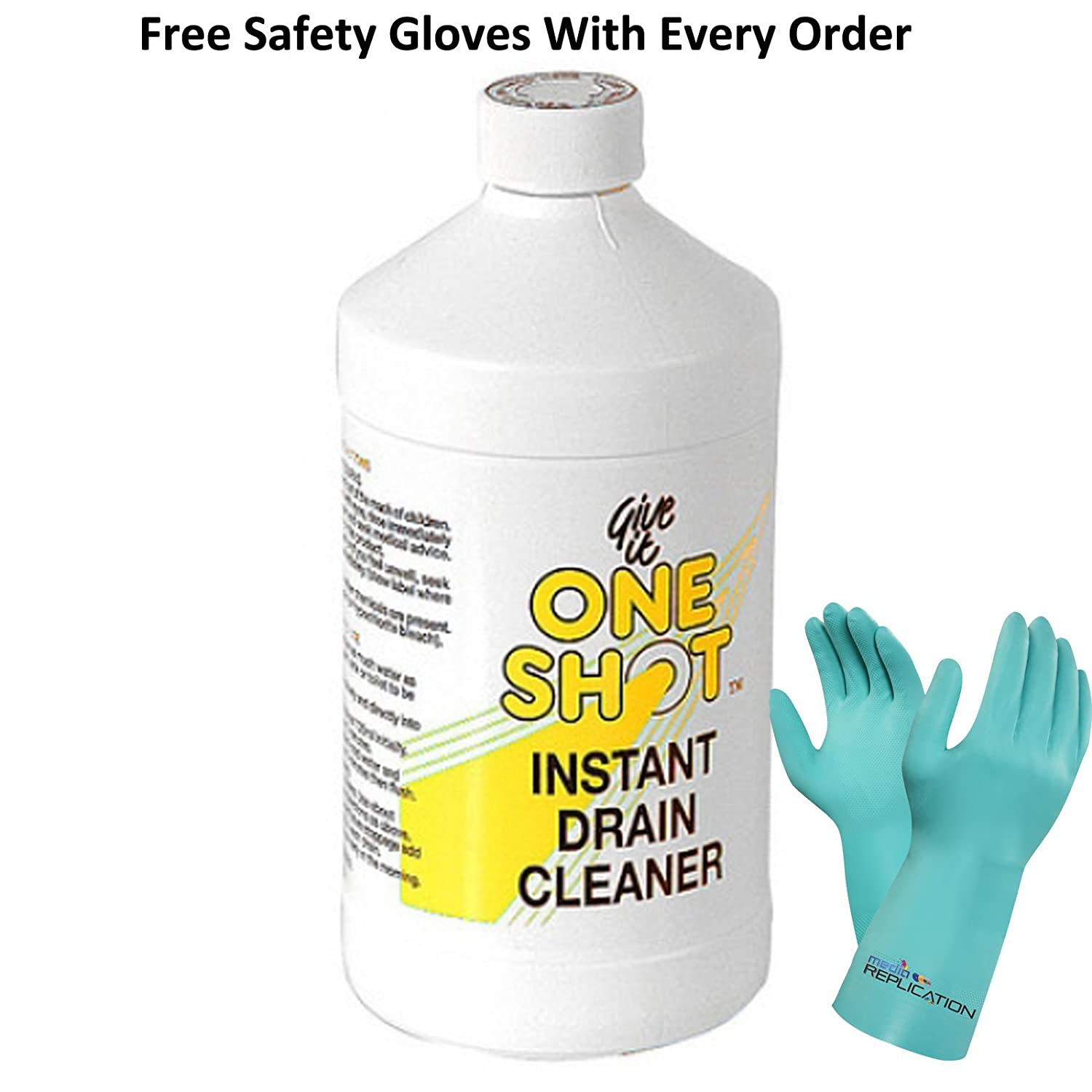 one shot instant drain cleaner 1 litre 2 free pair of safety gloves amazoncouk kitchen u0026 home