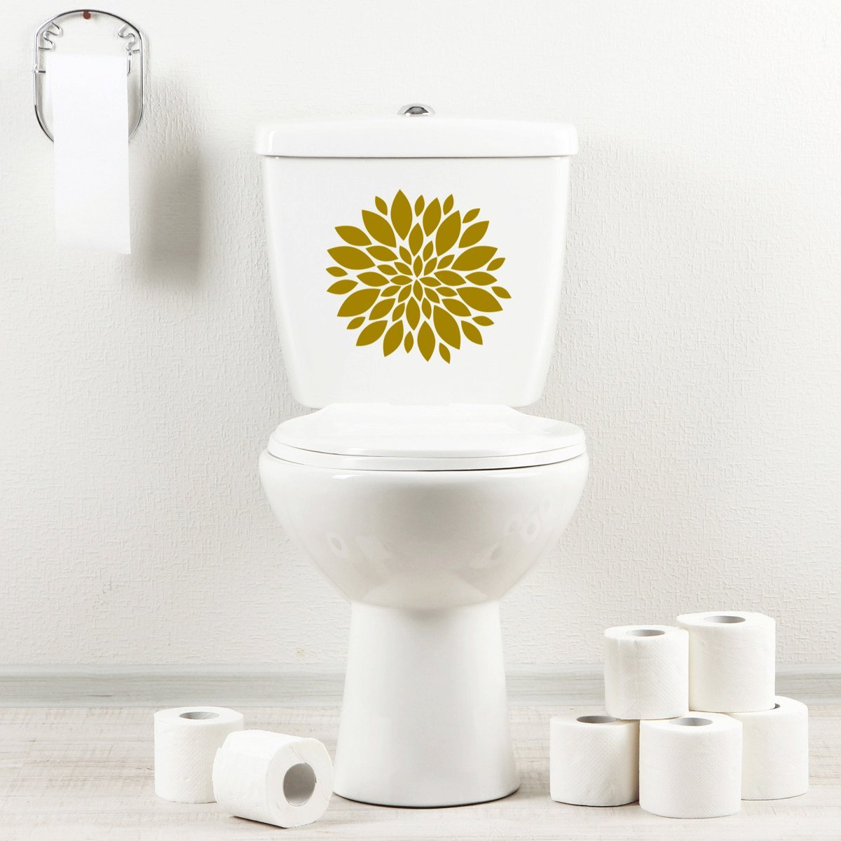 StickAny Bathroom Decal Series Flower Burst Sticker for Toilet Bowl, Bath, Seat (Black)