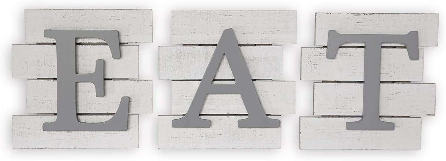 Karisky Eat Letter Signs 3-Pack 8 x 8 inches Rustic Wood Plaques Hanging Wall Art for Kitchen, Dining Room, Home Farmhouse Decor White and Gray