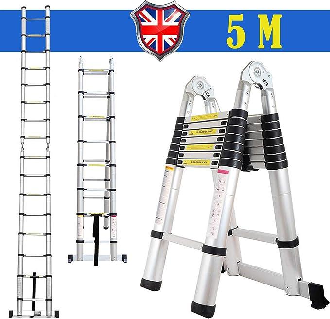 Escalera telescópica Autofaad, 5 m, Marco Plegable, alargador de Aluminio, Escalera portátil de 16 peldaños y Capacidad de Carga de 90 kg, Sistema de Bloqueo Seguro y Resistente: Amazon.es: Coche y moto