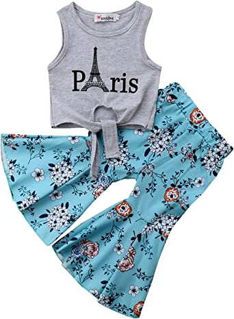 Toddler Baby Kids Girls Clothes T-shirt Tops Floral Flare Pants 2PCS Outfits Set