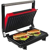 OZAVO Sandwichera Grill Panini & Toast, Parrilla eléctrica, Potencia de 750 W, Placas de Grill Antiadherentes, Asa de Toque Frío, Libre de BPA, Color Rojo