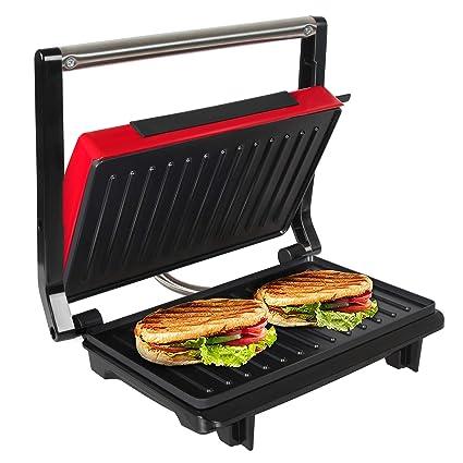 OZAVO Sandwichera Grill Panini & Toast, Parrilla eléctrica, Potencia de 750 W, Placas de Grill Antiadherentes, Asa de Toque Frío, Libre de BPA, Color ...