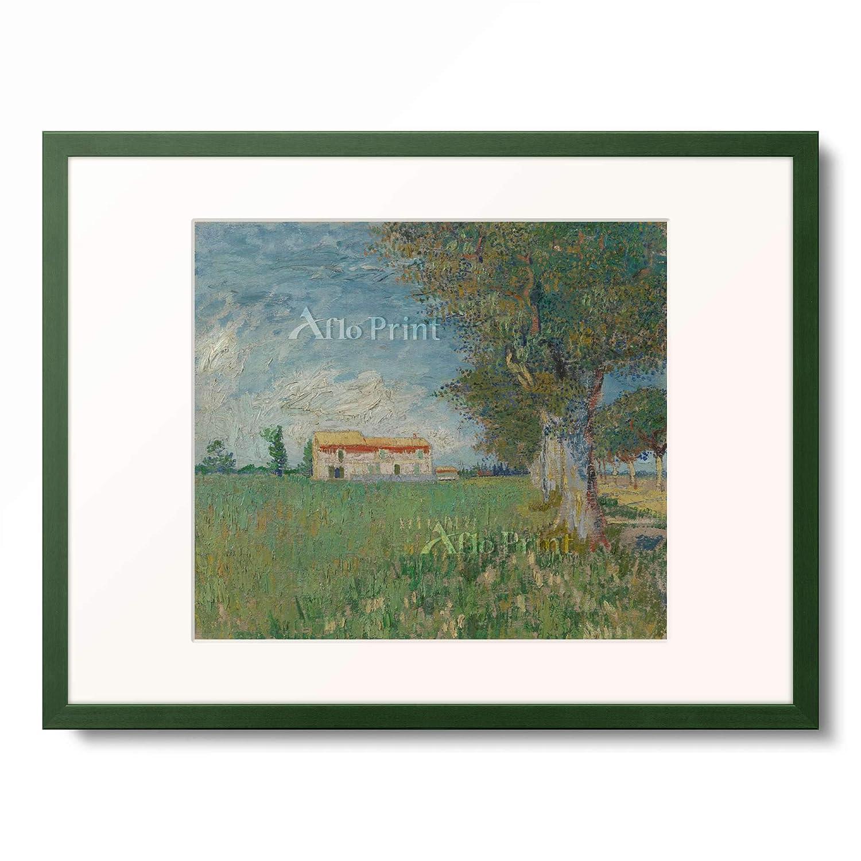 フィンセントファンゴッホ Vincent Willem van Gogh 「Farmhouse in a wheatfield」 額装アート作品 B07PGDXDT8 12.木製額 13mm(緑) S(額内寸 255mm×203mm) S(額内寸 255mm×203mm)|12.木製額 13mm(緑)