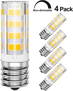 4-Pack Microwave Light Bulbs 40W Standard Replacement, 3000K Warm White, E17 Base LED Appliance Bulb, Non-Dimmable