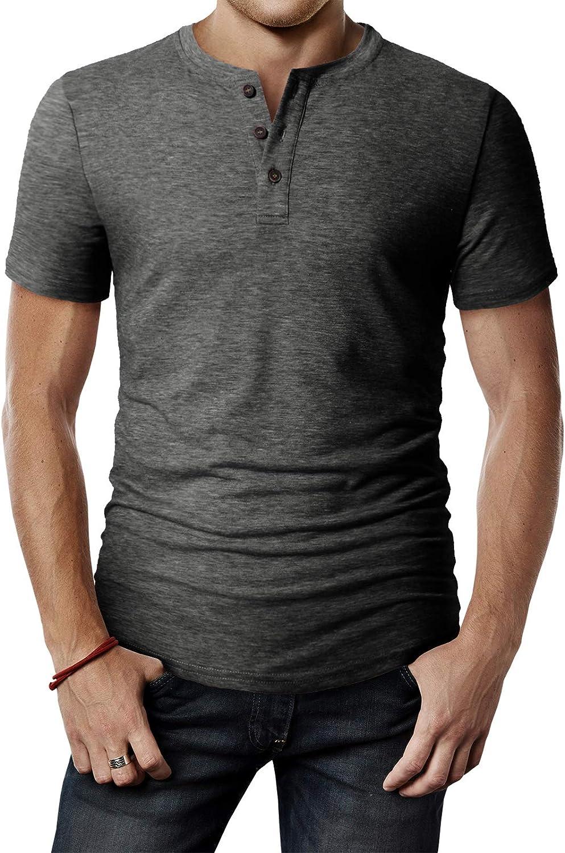 H2H Mens Casual Premium Slim Fit Henley T-Shirts Short Sleeve Lightweight