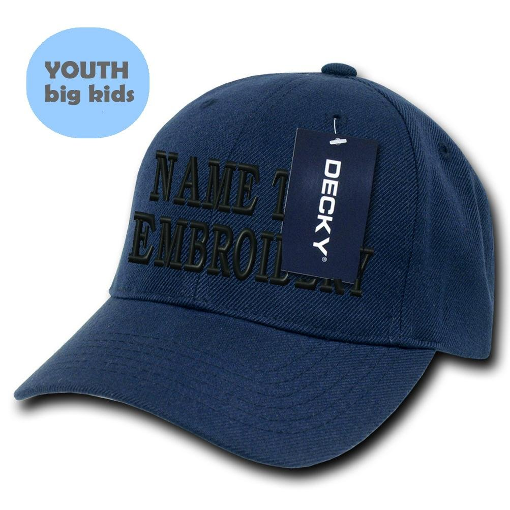 Custom Embroidered Hat Personalized Youth Curved Baseball Snapback Cap - Navy Blue