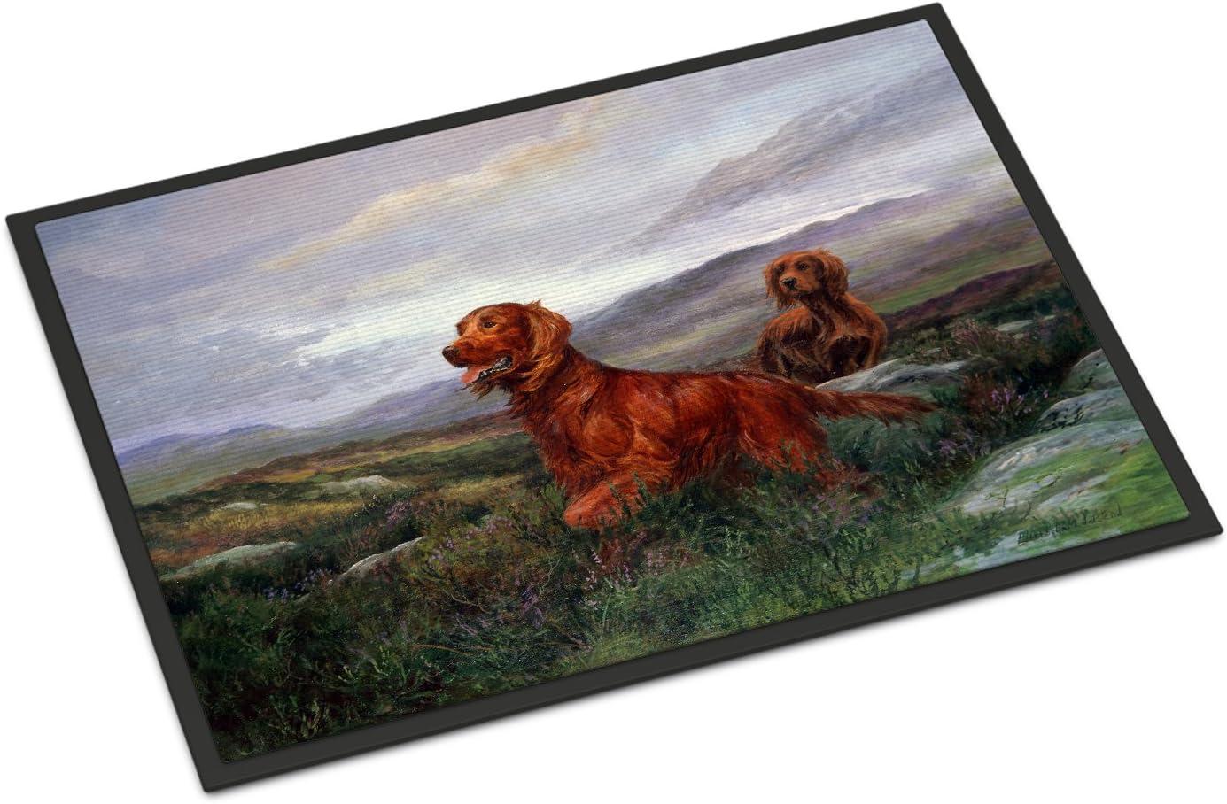 Caroline's Treasures HEH0081MAT Irish Setters by Elizabeth Halstead Indoor or Outdoor Mat 18x27, 18H X 27W, Multicolor