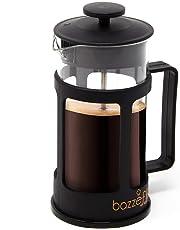 Bazzeff Prensa Francesa de Vidrio/Cafetera Francesa. Color Negro. Para Café o Tisana. Disponible en 350 ml (2 tazas) 800 ml (5 tazas) y 1 Litro (6 Tazas). (350 ml)