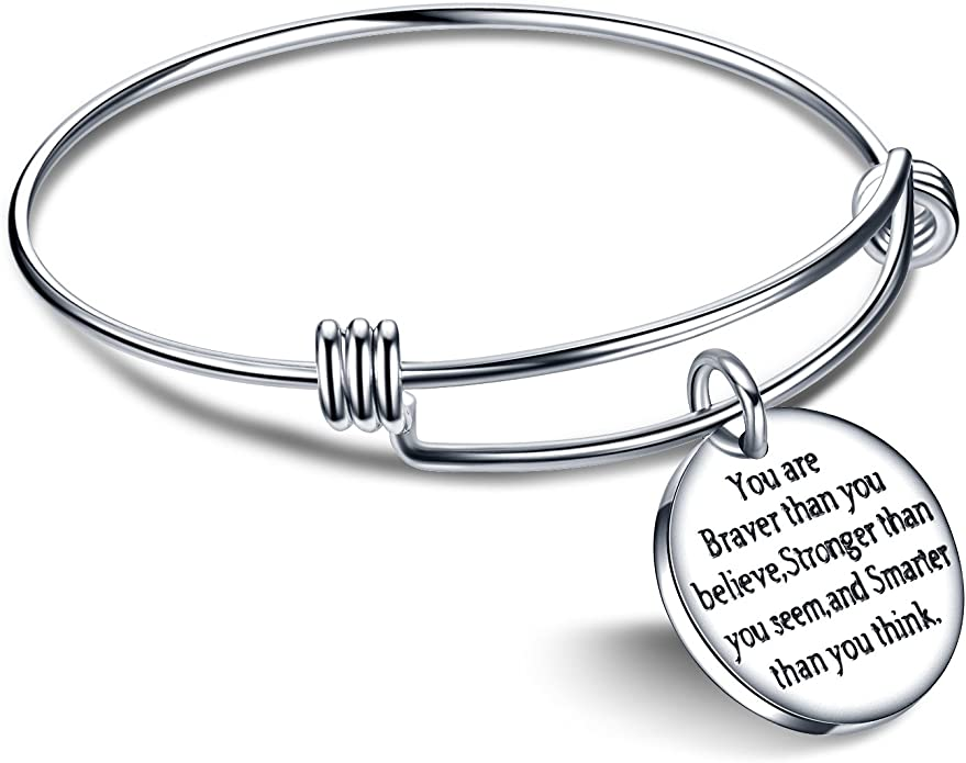 Heart linnalove You are Braver Than You Believe Stronger Than You Seem and Smarter Than You Think Inspirational Bracelet