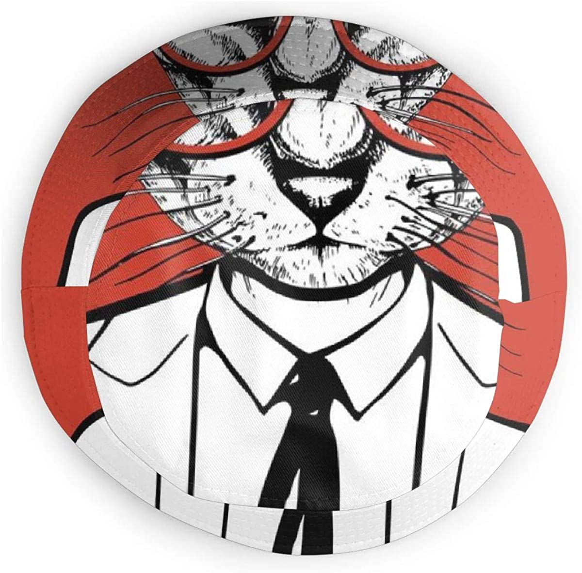 GULTMEE Unisex Fisherman Cap,Funny Vintage Sketch of Businessman Cat with Glasses and Suit,Travel Beach Hat