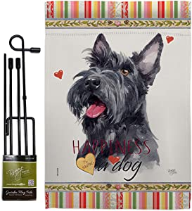Breeze Decor Scottish Terrier Happiness Garden Flag Set with Stand Dog Puppy Spoiled Paw Canine Fur Pet Nature Farm Animal Creature House Banner Small Yard Gift Double-Sided, Made in USA