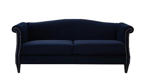 Jennifer Taylor Home, Camel Back Sofa, Dark Navy Blue, Velvet, Hand Applied