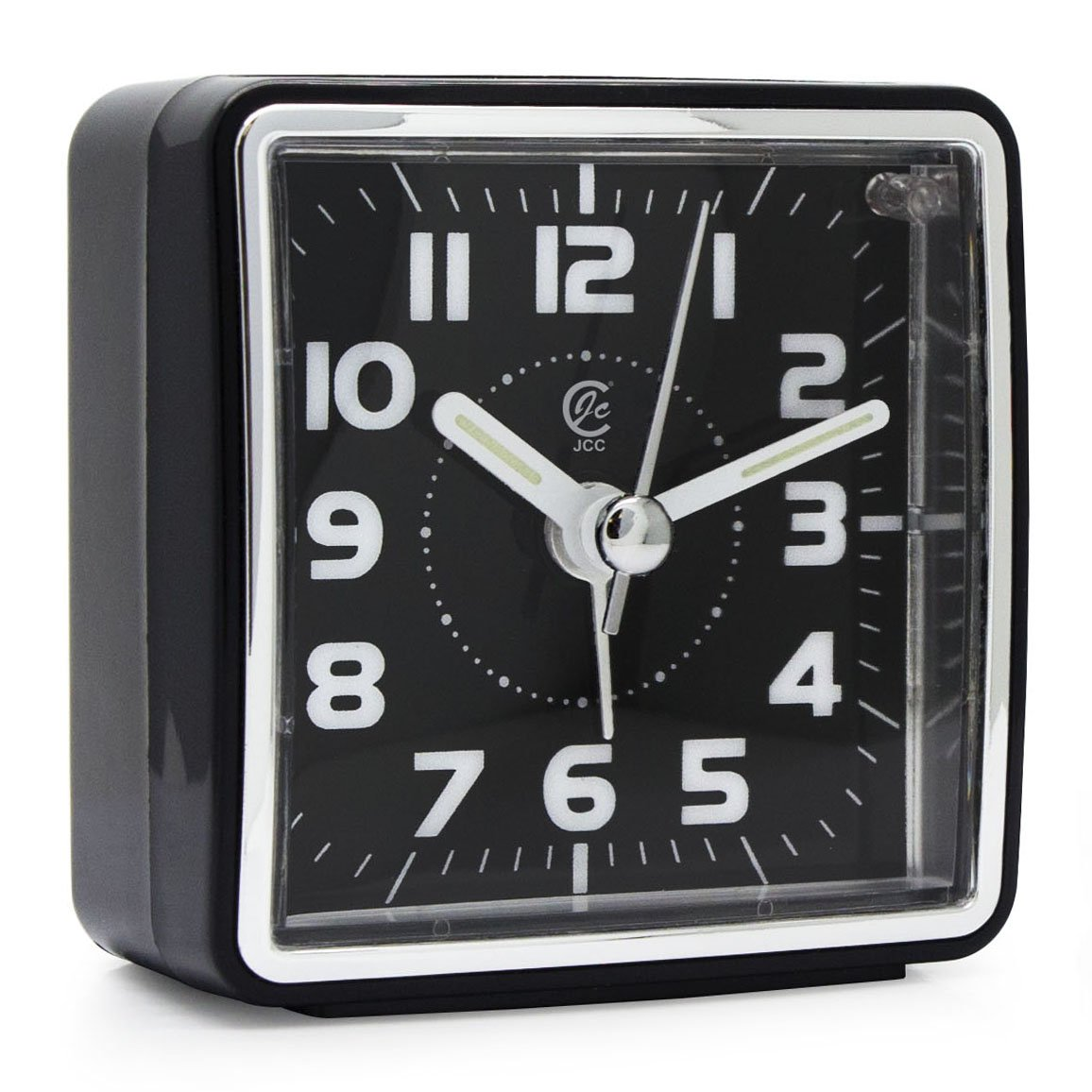 JCC Mini Travel Analog Alarm Clock, Non-Ticking - Battery Operated, Quartz Clock with 5 min Snooze - Loud Ascending Sound - Alarm Clocks with Night Light for Traveling, Backpacking, and Camping - Square Black