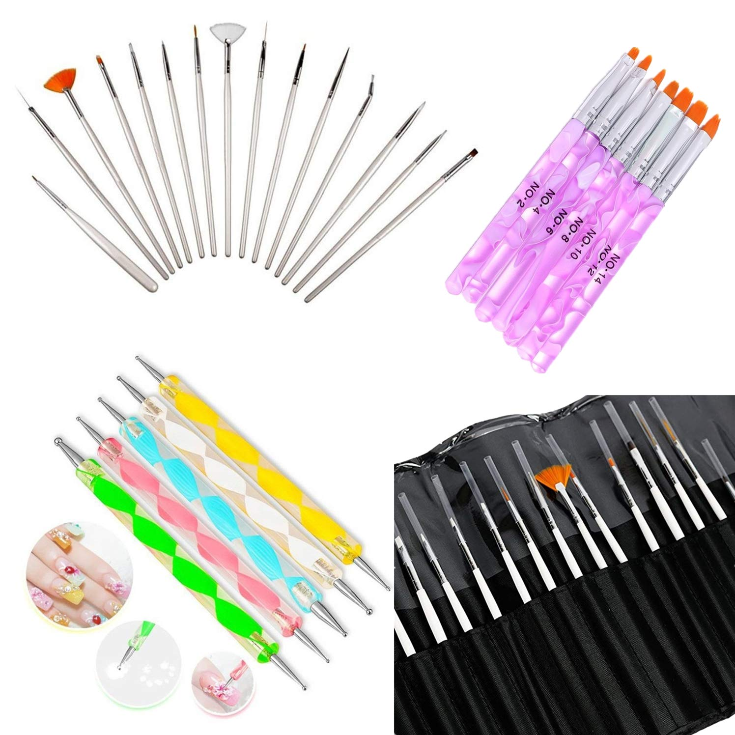 Glam Hobby 27pc Gel Acrylic Nail Art Painting Kit Brushes and Dotting Pen Brushes & Dotting Pen/Dotter Tool Kit Set(20PCS Nail Art Design Dotting Painting Drawing Brush + 7Pcs Uv Gel Nail Brush) : Beauty