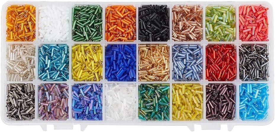 PandaHall Elite 8400 unidades de 24 colores abalorios de cristal con forma de cornisa, cuentas espaciadoras de tubo, longitud de 6 mm para pendientes
