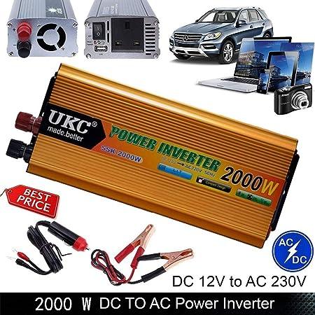 xbnbq automóvil Transformador Convertidor 12V To 220V 2000 W ...