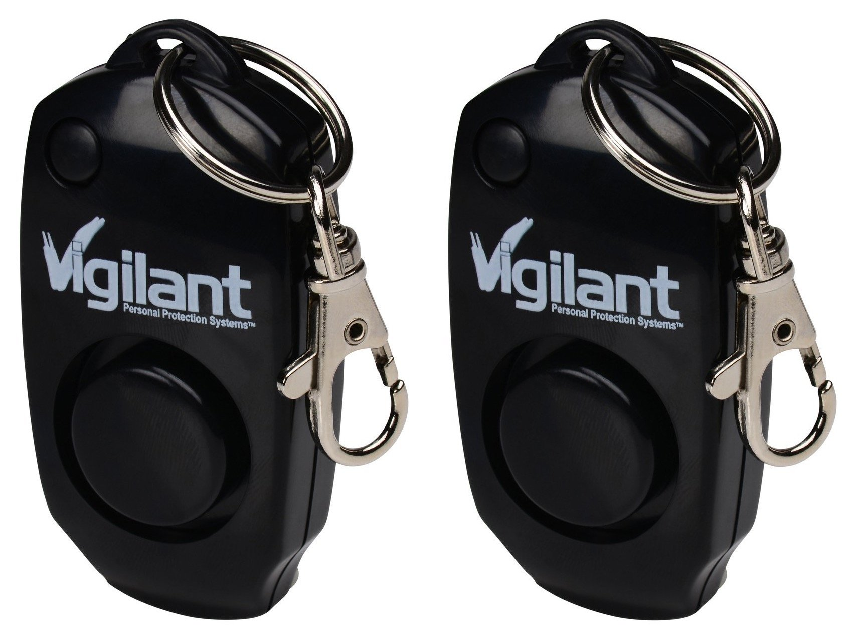 2-Pack Vigilant 130dB Personal Alarm - Backup Whistle - Button Activated with Hidden Off Button - Bag Purse Key Chain Keyring Clip - Batteries Included - for Men Women Kids Students (PPS-23BLK 2 Pack)