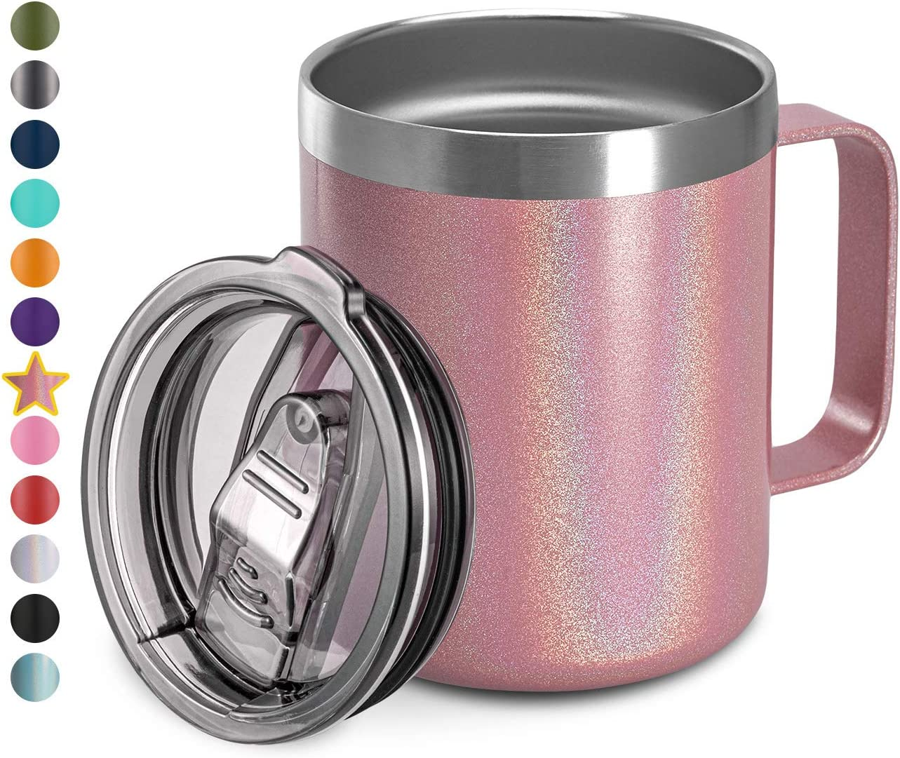 12oz Stainless Steel Insulated Coffee Mug with Handle, Double Wall Vacuum Travel Mug, Tumbler Cup with Sliding Lid, PINK GLITTER