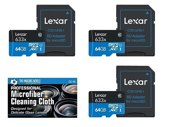 Amazon.com: 3-Pack Lexar 64 GB microSDXC UHS-I 633 X tarjeta ...
