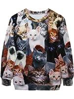 YICHUN Femme Tops de Loisir T-Shirts Fin Sweaters Sweat-shirts Pulls Blouse Jolis Chats
