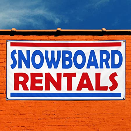 Multiple Sizes Available Vinyl Banner Sign Snow Board Rentals #1 Style A Sports Marketing Advertising White 4 Grommets 24inx60in Set of 3