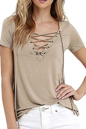 Women's Casual V Neck Short Sleeve Lace Up Solid T-Shirt Blouse Top Khaki S