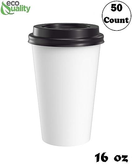 ea3e647e4fb Amazon.com: Large 16oz White Paper Coffee Cups with Black Lids - (50 ...
