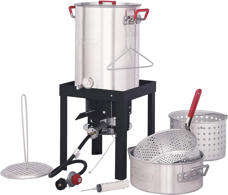 CreoleFeast TFS3010 Propane 30 Qt. Turkey and 10 Qt. Fish Fryer Boiler Steamer Set, 50,000 BTU Burner, Ideal for Outdoor Cooking