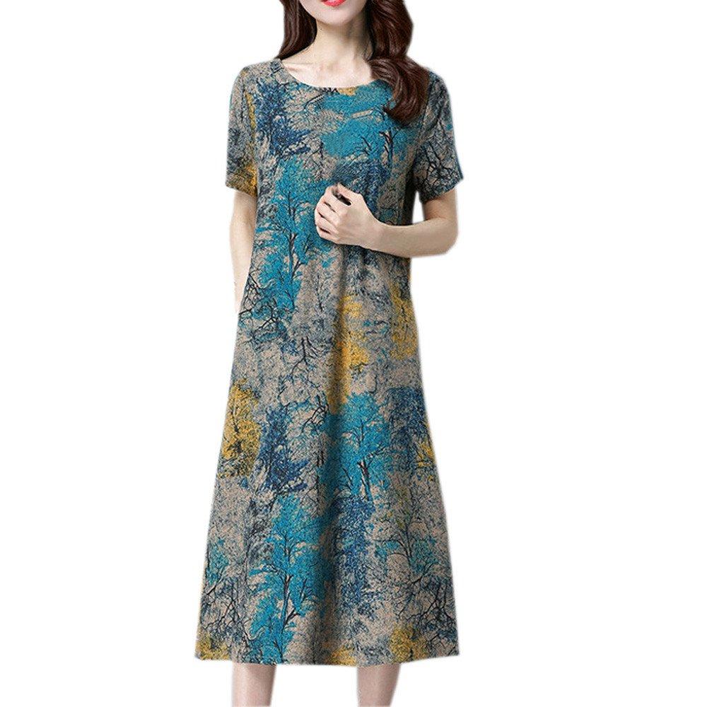 Women's Plus Size Dress Short Sleeve O Neck Pocket Skirt Cotton Linen Printed Loose Casual Dress(Blue,XL)