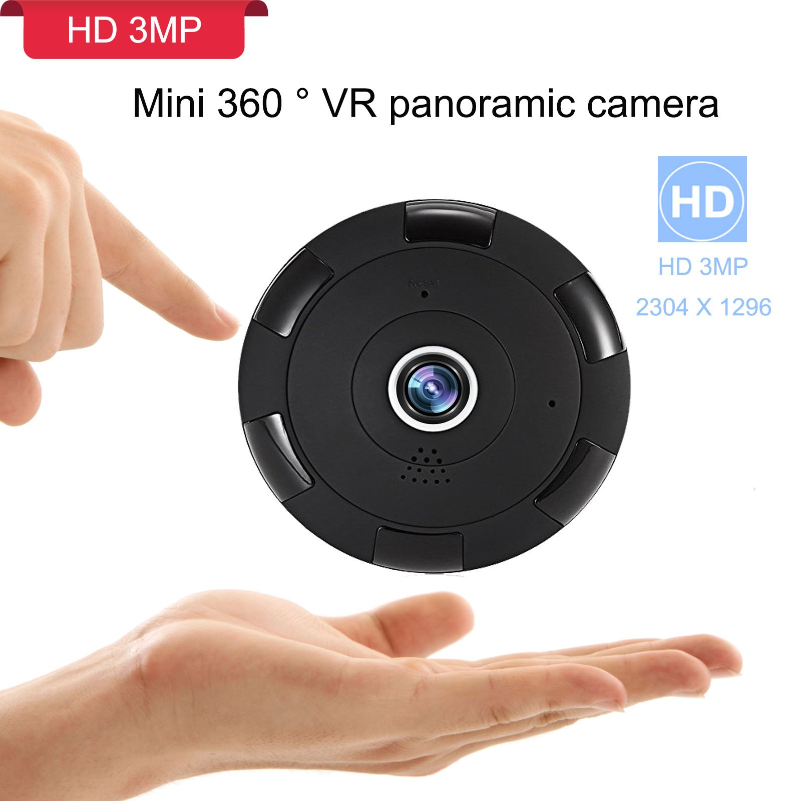 360 3MP WiFi Home Security Mini IP Camera, Baby/Elder/Pet/Nanny Monitor, HD 2304x1296P Wireless Indoor Security Surveillance CCTV Camera System with APP for IOS, Android, Night Vision,Two-way Audio