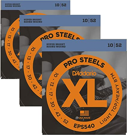3 Sets D/'Addario EXP140 Coated Nickel-plated Light Top Heavy Bottom 10-52